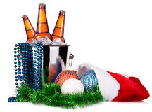 Beer and christmas decor. Isolated on a white Stock Image