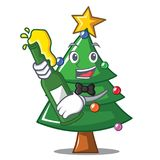 With beer Christmas tree character cartoon. Vector illustration Stock Images