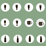 Beer, cider icons. A black mark on a cool pastel green background in white circles Stock Photo