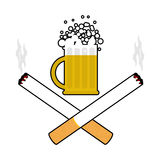 Beer and cigarettes. Alcohol and smoking sign. Logo for harm hea Royalty Free Stock Image