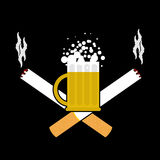 Beer and cigarettes. Alcohol and smoking sign. Logo for harm hea Royalty Free Stock Images