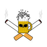 Beer and cigarettes. Alcohol and smoking sign. Logo for harm hea. Lth. Emblem for harmful products Stock Photography