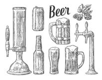Beer class, can, bottle, barrel. Vintage  engraving illustration   Stock Photography