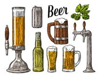 Beer class, can, bottle, barrel. Vintage  engraving illustration  Royalty Free Stock Photos