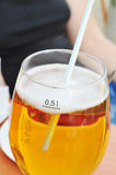 Beer in clear glass with bubbles, alcohol Stock Images