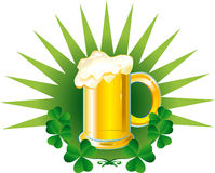 Beer with clover. Patrick card. Beer with clover on green background Stock Images