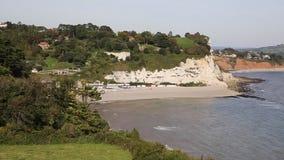 Beer coast and beach Devon England UK English coastal village on the Jurassic Coast stock footage