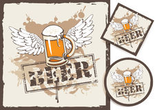 Beer coasters. Banner and two beer coasters Stock Images