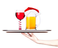 Beer with cocktail on a silver waitress tray Royalty Free Stock Photo