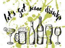 Beer,coctail and wine on green stains, lettering lets get some drinks Stock Image