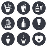 Beer, coffee and tea icons. Alcohol drinks Royalty Free Stock Photography