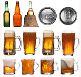 Beer collage, isolated on white Stock Photo