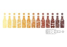 Beer color chart. Beer bottle with lettering. Beer chart Infographic of style and Color based on SRM and EBC Standard vector illustration