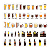Beer color icons set, glasses and bottles. Vector Royalty Free Stock Images
