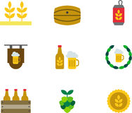 BEER colored flat icons Royalty Free Stock Photos