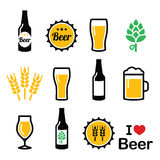 Beer colorful  icons set - bottle, glass, pint Stock Photo