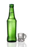 Beer concept. Huge bottle of beer, with a very small beer glass royalty free stock photography