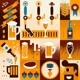 Beer Concept. Illustration of beer concept collage background with elements Royalty Free Stock Photo