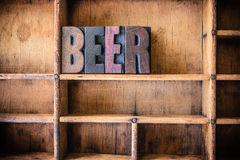 Beer Concept Wooden Letterpress Theme Stock Images