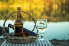 Beer cool drink. Beer cool drink on nature Royalty Free Stock Photo