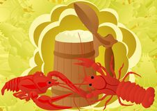 Beer with crabs Stock Photography