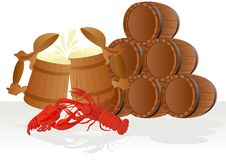 Beer with crabs and barrels of beer Royalty Free Stock Photo