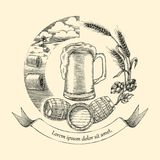 Beer craft concept logo hand drawing vintage style,Process of cr. Aft beer Royalty Free Stock Photography