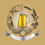 Beer craft concept logo hand drawing vintage style,Process of cr. Aft beer Stock Image