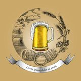 Beer craft concept logo hand drawing vintage style,Process of cr. Aft beer Stock Images