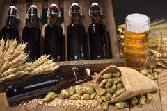 Beer crate with beer glass Stock Photography