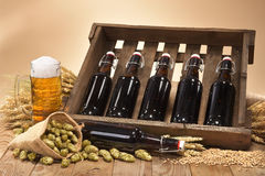 Beer crate with beer glass Royalty Free Stock Images