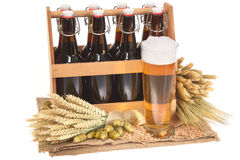 Beer crate with beer glass Royalty Free Stock Photography