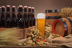 Beer crate with beer glass Stock Image