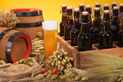 Beer crate with beer glass Royalty Free Stock Photo