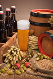 Beer crate with beer glass Royalty Free Stock Photos