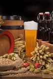 Beer crate with beer glass Stock Photos