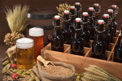 Beer crate with beer glasses Royalty Free Stock Photography