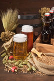 Beer crate with beer glasses Stock Image