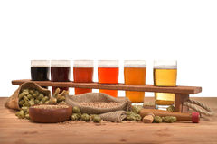 Beer crate with beer glasses Stock Photos