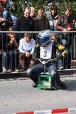 Beer crate racing. In the second race of beer cases in Hohentann (area of Landshut, Germany), more than 25 pilots have measured in  there self-built  beer cases Stock Image