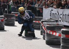 Beer crate racing. In the second race of beer cases in Hohentann (area of Landshut, Germany), more than 25 pilots have measured in  there self-built  beer cases Stock Photos