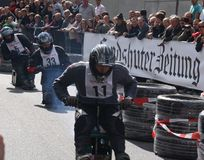 Beer crate racing. In the second race of beer cases in Hohentann (area of Landshut, Germany), more than 25 pilots have measured in  there self-built  beer cases Royalty Free Stock Photo