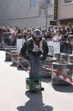Beer crate racing. In the second race of beer cases in Hohentann (area of Landshut, Germany), more than 25 pilots have measured in  there self-built  beer cases Stock Photography