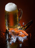 Beer And Crawfish. Glass of beer and crawfish on ice Royalty Free Stock Photos