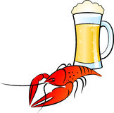 Beer&Crayfish 图库摄影