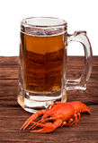 Beer with crayfish Stock Photo