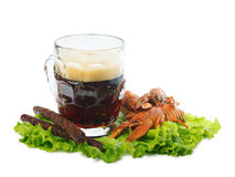 Beer with crayfish and sausages Stock Photo