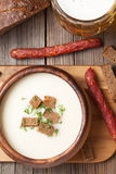 Beer cream soup with dill croutons beer and Royalty Free Stock Photography