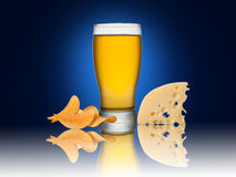 Beer with crisps and cheese. Glass of beer with crisps and cheese on a blue background Royalty Free Stock Images
