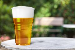 Beer. Cup plastic closeup cold disposable liquid Stock Image